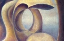 1979-Hommage aan Henri Moore, olieverf, 40x50 cm