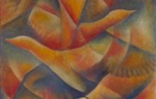 1997-Vleugelslag, olieverf, 70x70 cm