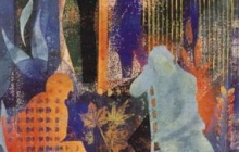 2000-Wachtenden 2, sjabloonprint, 60x80 cm