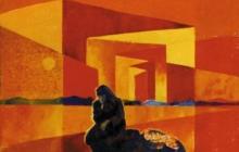 2000-Zwerfvrouw-2, sjabloonprint, 40x50 cm