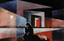 2000-Zwerfvrouw-3, sjabloonprint, 40x50 cm