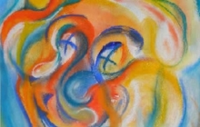 2001-Clown, aquarelpastel, 60x80 cm