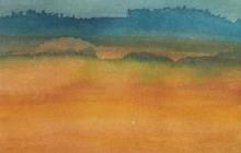 2002-Blauwe verte 2, aquarel, 30x40 cm