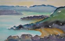 2002-Rotskust Bretagne, aquarel, 50x60 cm