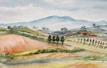 2002-Toscane, Blauwe verte, aquarel, 40x50 cm