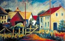 2003-Belgisch dorp, olieverf, 70x100 cm