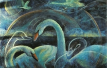 2003-Blauwe zwanen, olieverf, 80x100 cm