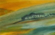 2004-Fantasie landschap 1, aquarel, 40x50 cm