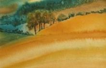 2004-Fantasie landschap 2, aquarel, 40x50 cm
