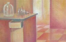 2005-Keukendoekjes, deel 1, olieverf op doek, 30x30 cm