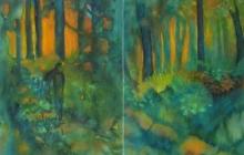 2007-Boswandeling, 2 in een lijst, aquarel, 180x110 cm