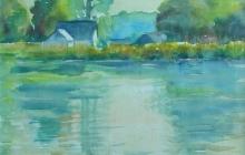 2007-Huis aan het water, aquarel, 40x50 cm