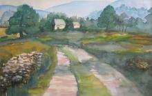 2008-Ierse huisjes, aquarel, 70x90 cm