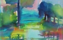 2008-Kleurig landschap, aquarel, 30x40 cm