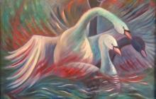 2008-Wilde zwanen, olieverf, 80x100 cm