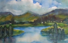 2009-Irish lake, aquarel, 70x90 cm