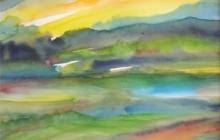2010-Fantasielandschap, aquarel, 40x50 cm