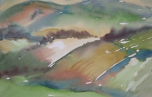 2011-Heuvellandschap, aquarel, 50 bij 60 cm