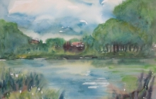 2011-Riverside, aquarel, 50 bij 60 cm