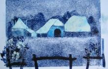 2012-Boerderij in Salland, sjabloonprint, 40 bij 50 cm