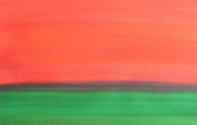 2015-Randschap in groen-karmijn, aquarel, 80x60 cm