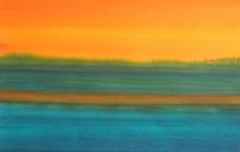 2015-Randschap in oranje-groen, aquarel, 60x50 cm