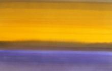 2015-Randschap in paars en geel 2, aquarel, 80x60 cm