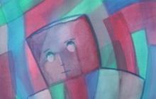 2016-Leeg hoofd, aquarel, 60x65 cm