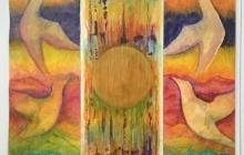 Drieluik 'Stroom en tegenstroom' op rijstpapier (linkerpaneel) en op achterkant van behang (midden en rechter paneel), 225 bij 3x50 cm