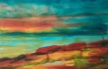 2018-Fantasie landschap, aquarel 30 bij 40 cm