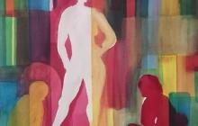 2018-Monoloog, aquarel, 60 bij 80 cm