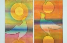 Tweeluik 'Gevleugelde flow', 2 maal 220 bij 56 cm