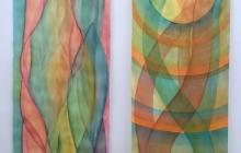 Tweeluik 'Sapstroom', op aquarelpapier, 225 bij 2x56 cm