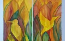 Tweeluik 'Stroom en tegenstroom', 225 bij 2x56 cm