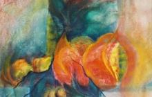2004-Bloem, aquarelpastel, 50x60 cm