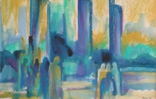 2005-Havengebied 3, aquarelpastel, 40x50 cm