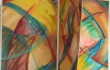 2007-Kuub als mobiel, aquarelpastel, 100x100x100 cm