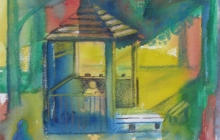 2008-Rollecatetuin, aquarel-pastel, 24 bij 30 cm
