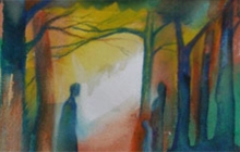 2009-Forest-wise, aquarelpastel, 24x30 cm