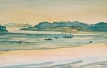 2005-Baai in Bretagne, aquarel, 50x80 cm
