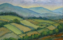 2007-Iers landschap, aquarel, 70x90 cm