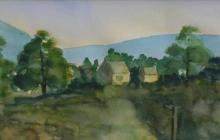 2009-Iers landschap, aquarel, 30x60 cm