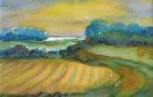 2010-Uiterwaarden, aquarel, 40x50 cm
