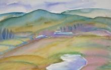 2011-Fantasielandschap, aquarel, 50 bij 60 cm