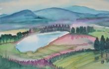 2011-Huisje in fantasielandschap, aquarel, 50 bij 70 cm