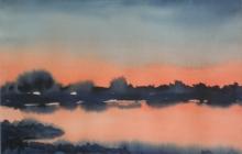 2014-Avondland, aquarel, 40x40 cm