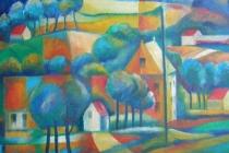 1998-Vlaams landschap, olieverf, 60x80 cm