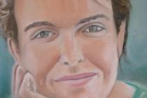 2009-Portret van een fluitiste, olieverf op doek, 30x40 cm
