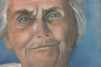 2009-Portret van een oude dame, olieverf op doek, 30x40 cm