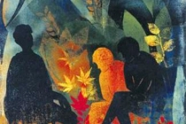 2000-Wachtenden 3, sjabloonprint, 60x80 cm